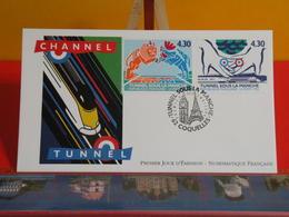 FDC> Le Tunnel Sous La Manche (Train - T.G.V.) > 3.5.1994 (62) Coquelles > 1er Jour Coté 6€ - Trains