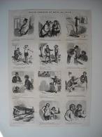 GRAVURE 1873. REVUE COMIQUE DU MOIS. 12 CARICATURES DONT 1 AVEC GUSTAVE COURBET. - Song Books