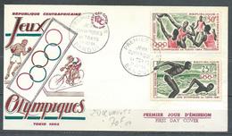 Centrafricaine Rép. FDC Enveloppe Premier Jour Poste Aérienne YT N°23-25 Jeux Olympiques De Tokyo 1964 - Central African Republic