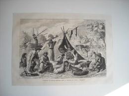GRAVURE 1873. AUTRICHE. CAMPEMENT DE ZINGARI HONGROIS DANS LA BANLIEUE DE VIENNE. - Music & Instruments
