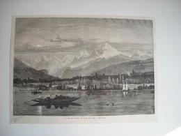 GRAVURE 1873. LE LAC DE GENEVE AU CLAIR DE LUNE. - Music & Instruments