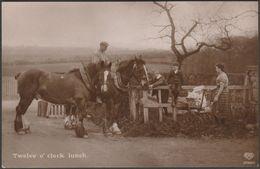Twelve O' Clock Lunch, C.1910 - Schwerdtfeger RP Postcard - Horses