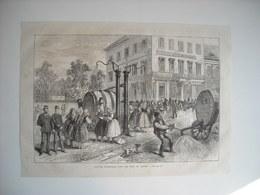 GRAVURE 1873. AUTRICHE. VIENNE. SYSTEME D'ARROSAGE DANS LES RUES DE VIENNE. - Music & Instruments