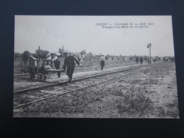 CPA 17 Saujon Catastrophe Du 14 Août 1910 Transport D'un Blessé Sur Un Charriot - Saujon