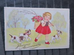 TI - CARTE ILLUSTRATEUR - Carte Heureux Anniversaire - - Thème Petite Fille Fleur Chiots - Illustratoren & Fotografen
