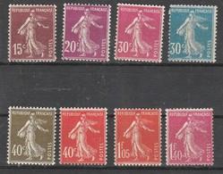France N° 189 à 196** Type Semeuse Fond Plein Série De 8 Valeurs - France
