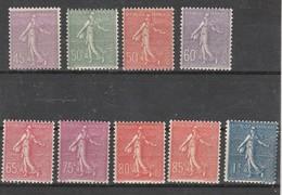 France N° 197 à 205** Type Semeuse Lignée,  Série De 9 Valeurs - France
