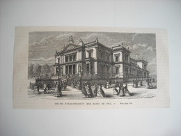 GRAVURE 1873. BELGIQUE. GRAND ETABLISSEMENT DES BAINS DE SPA. - Estampes & Gravures