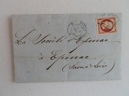 EMPIRE NON DENTELE 17Ac SUR LETTRE DE PARIS A EPINAL DU 3 SEPTEMBRE 1857 (LOSANGE D) - 1849-1876: Période Classique
