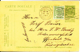 Belgium Uprated Carte Postale Bruxelles 30-10-1911 Sent To Germany - Stamped Stationery