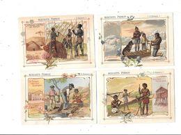 10559 - Lot De 4Chromos Biscuits PERNOT : Travail Chez Les Peuples, Construction Hutte,traineau,pirogue Et Chercheur D'o - Pernot