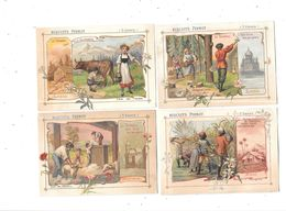 10560 - Lot De 4Chromos Biscuits PERNOT : Travail , Traite Vaches,tonte Moutons,abatage Arbres,recolte Canne Sucre - Pernot