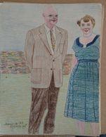Dessin Au Crayon - Illustrateur Signé  ,  Mamie Et Ike  Premiére Dame Des Etatq Unis De 1953 à 1961 ,femme         (20 ) - Dessins