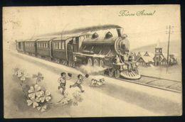 Z07 - Steam Train Children Dog Church - Used - Neujahr