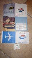 UNITED AIR LINES Billet San Francisco Honolulu  + Ticket Siège + Pochette Pub HERTZ 1963 - United States
