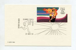 USA POSTCARD 1984 DETROIT MI OLYMPIC TORCH STATION OLYMPIC GAMES LOS ANGELES - Summer 1984: Los Angeles