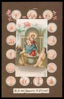 Madonna - Beata Vergine Del Rosario Di Pompei Circondata Dai 15 Misteri Del Rosario - (inizio Novecento) - Riproduzione - Imágenes Religiosas