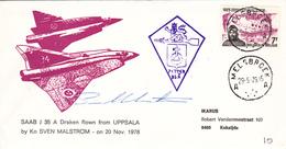 Melsbroek 1979 - Saab J35 Draken Flown From Uppsala - Postmark Collection