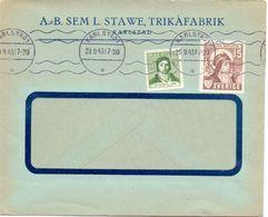 Enveloppe Kuvert - Pub Reklam A.B. Sem L. Stawe Trikafabrik Karlstad - Till Hagfors Sverige Suède Zweden 1943 - Enteros Postales