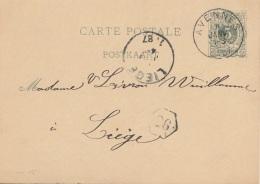 BELGIEN 1887 - 5 C Auf Pk Gel. Avenne N. Liege - 1869-1888 Lion Couché (Liegender Löwe)
