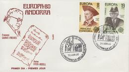 Enveloppe  1er  Jour  ANDORRE   Paire   EUROPA    1980 - Andorre Espagnol