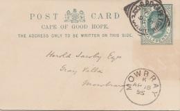 CAPE OF GOOD HOPE 1895 - Halfpenny Ganzsache Auf Pk Gel.1895 Von Cape Town Nach Mowbray - Südafrika (...-1961)