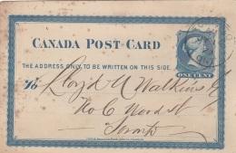 CANADA 1879 - One Cent Ganzsache Auf Firmen Pk Gel.Toronto - 1851-1902 Victoria