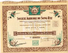 Ancienne Action - Société  Agricole Du Song-Ray - Tonkin - Indochine- Titre De 1927 - Landwirtschaft