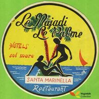 Voyo HOTEL LE NAJADI - LE PALMA Santa Marinella Italy Label Early Printing Vintage - Hotel Labels