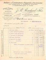69 LYON  FACTURE 1926 Ateliers De Constructions D' Appareils Pour Fabricants De Boissons Gazeuses Bière RONCHARD  * Z80 - France