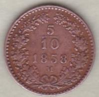 Lombardo-Veneto. 5/10 Di Kreuzer 1858 M (Milano). Francesco Giuseppe I - Temporary Coins