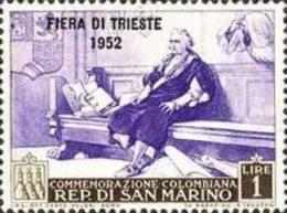 REPUBBLICA DI SAN MARINO 1952 FIERA DI TRIESTE LIRE 1 LIRA MNH - Ungebraucht