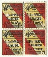 ESPAÑA VIÑETA GUERRA CIVIL ASOCIACION DE CARIDAD MNH BL4 ** 5 CTM,s Granada - Beneficenza