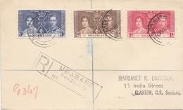 SWAZILAND 1937 - 3 Sondermarken Auf R-Brief Gel.v.Mbabane Nach Glasgow - Swasiland (...-1967)