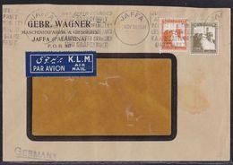 Jaffa Palestine Israel 1938 Cover British Mandate K.L.M. Air Mail - GEBR. WAGNER - Palestina