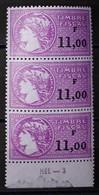 FRANCE - BANDE DE 3 TIMBRES FISCAUX NEUFS AVEC GOMME ET BAS DE FEUILLE - VALEUR 11,00 FRANCS - N° YVERT ET TELLIER 444 - Revenue Stamps