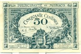 50 CENTIMES DE MONACO 1920 - Monaco