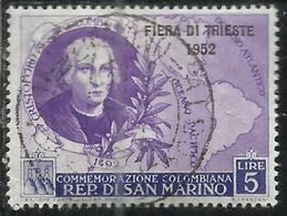 REPUBBLICA DI SAN MARINO 1952 FIERA DI TRIESTE FAIR LIRE 5 USATO USED OBLITERE' - Gebraucht