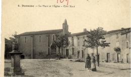 11 DONAZAC - La Place Et L'Eglise - Côté Nord - Animée - Autres Communes