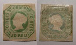 Portugal 1853 Queen Maria II 50R Green Mi.3 Mint+gum Signed Margin Reinforced MH AM.483 - 1853 : D.Maria