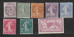 France N° 233 à 240**, Série Compléte De 8 Valeurs (Blanc, Semeuse, Merson) - Unused Stamps