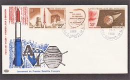 DJIBOUTI FDC Satellite A 1 Le 28/01/66 N° 45/46 PA ( Fusée Diamant) - Côte Française Des Somalis (1894-1967)