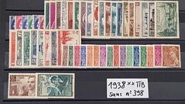 Année Complète 1938 Sans N° 398  Neuf ** TTB à -15% De La Cote. - ....-1939