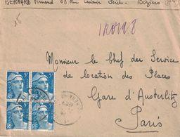 HERAULT - BEZIERS - RECOMMANDE PROVISOIRE 23-3-1948 - GANDON - BLOC DE 4 DU 5F BLEU -PARIS-XIII DISTRIBUTION VERSO (P1) - Postmark Collection (Covers)