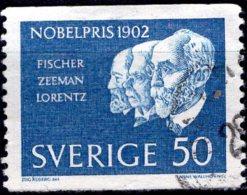 SWEDEN 1962 Nobel Prize Winners Of 1902 - 50ore Emil Hermann Fischer (chemistry) And Pieter Zeeman And Hendrik Lorent FU - Used Stamps