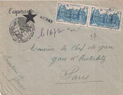 PAS DE CALAIS - ARRAS - RECOMMANDE PROVISOIRE - 28-7-1947 - ENTETE L'ESPERANTO - PAX -(P1). - Postmark Collection (Covers)