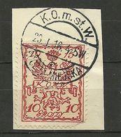 POLEN Poland 1915 Stadtpost Warschau Michel 2 A Auf Dem Briefstück O Signed Petriuk BPP - ....-1919 Overgangsregering