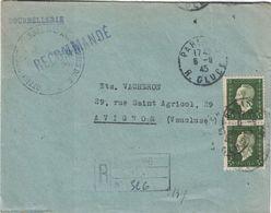 PARIS - RECOMMANDE PROVISOIRE - MARIANNE DE DULAC 3f EN PAIRE - LE 6-1-1945 (P1). - Postmark Collection (Covers)