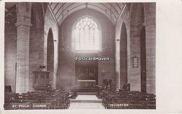 Vintage Real Photo  Postcard;  St Pauls Church. Interior. Yelverton. Devon - England