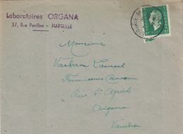 BOUCHES DU RHONE - MARSEILLE - MARIANNE DULAC 80c SEUL SUR LETTRE (P1). - Postmark Collection (Covers)